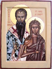Wedding Icon of St. Basil the Great and St. Mary of Egypt, egg tempera
